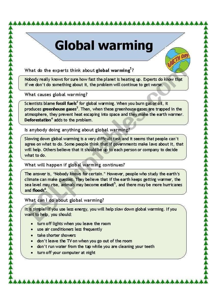 Global Warming  Esl Worksheetbaiba In Global Warming Worksheet