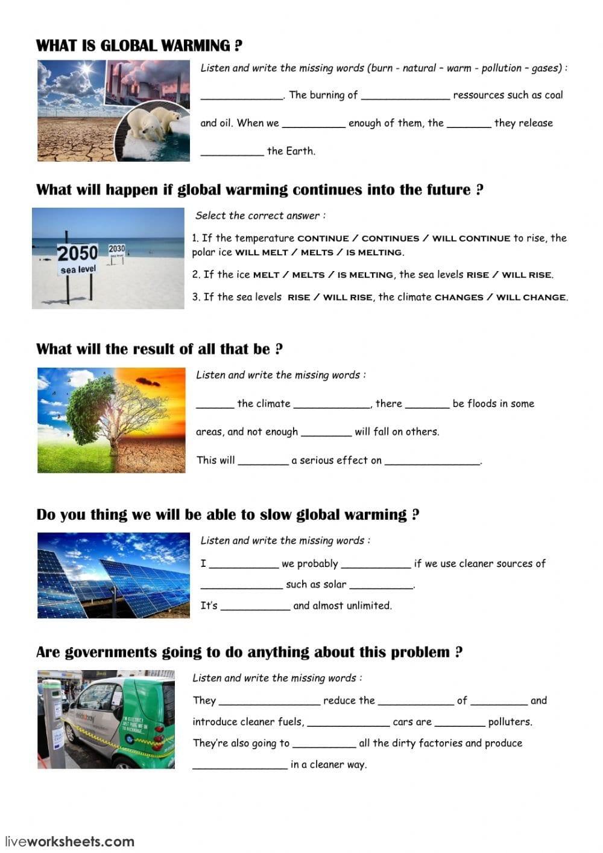 Global Warming Interactive Worksheet And Global Warming Worksheet