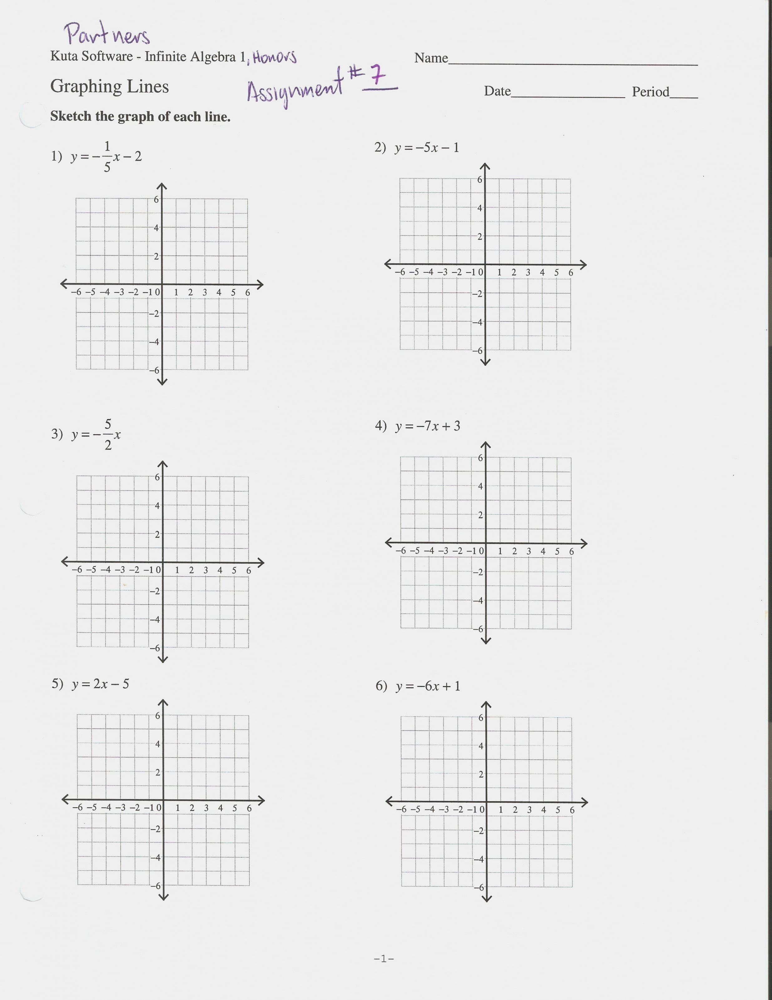 Graphing Equations In Slope Intercept Form Worksheet 133 13 Answers Within Algebra 1 Slope Intercept Form Worksheet 1 Answer Key