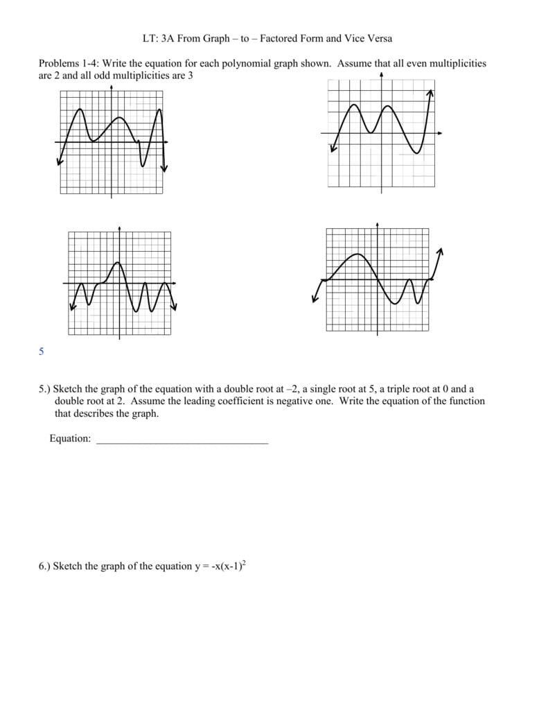 Graphing Polynomials Worksheet Along With Graphing Polynomials Worksheet Algebra 2