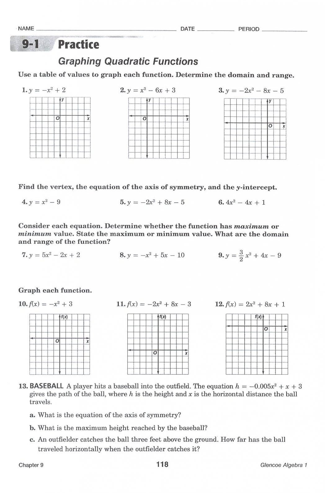 Graphing Quadratic Functions Worksheet Electron Configuration With Regard To Quadratic Functions Worksheet Answers
