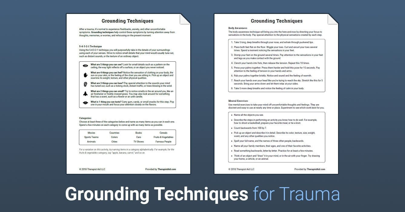 Grounding Techniques Worksheet  Therapist Aid For Trauma Worksheets Therapy