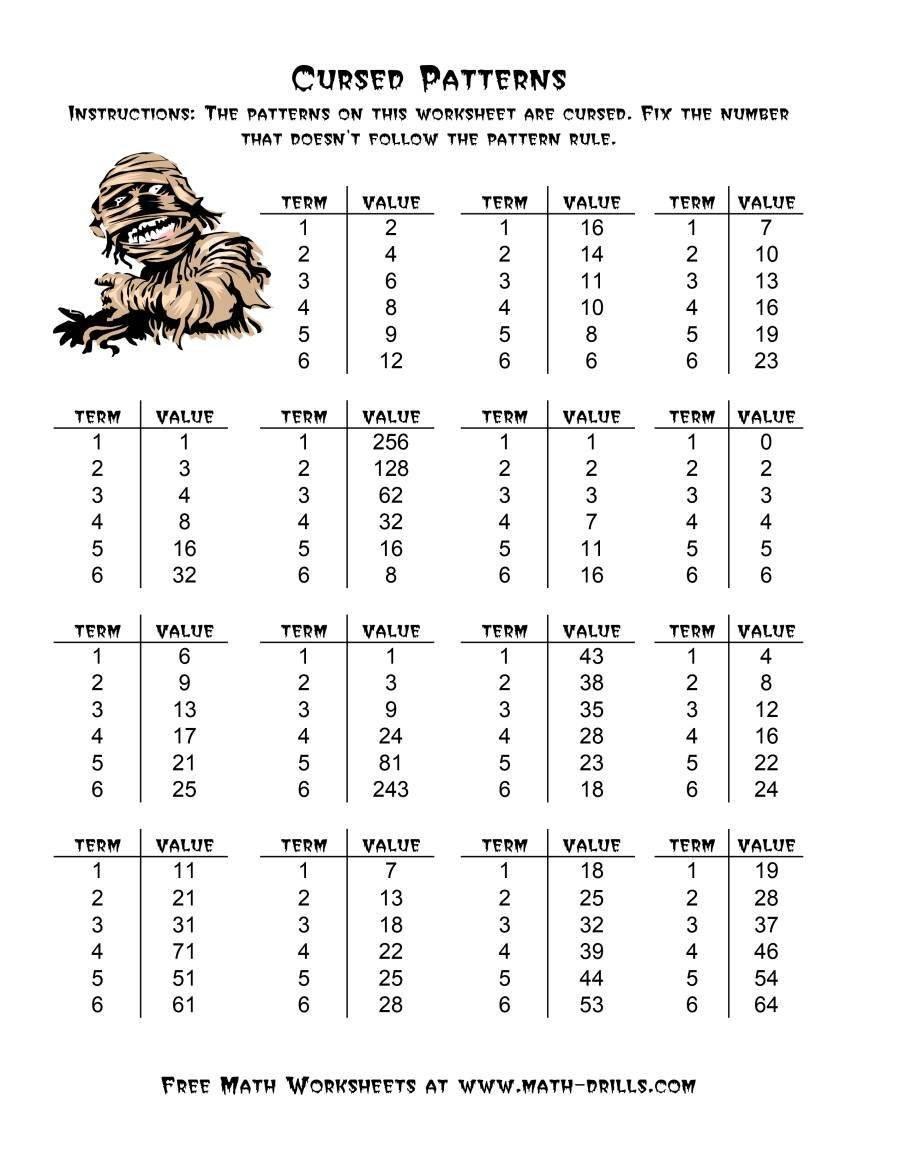 Halloween Cursed Number Patterns A Intended For Math Curse Worksheets