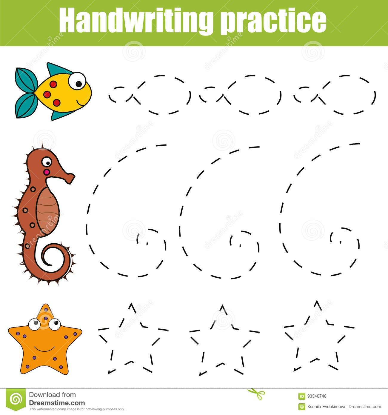 Handwriting Practice Sheet Educational Children Game Printable Along With Los Animales Printable Worksheets