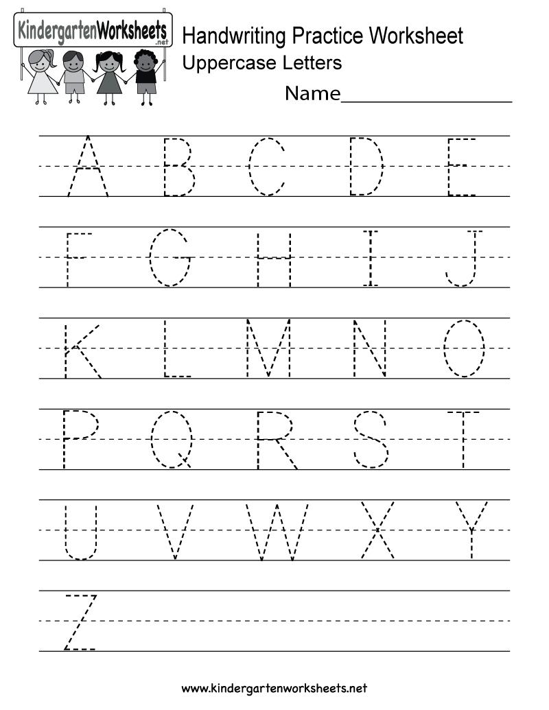 Handwriting Practice Worksheet  Free Kindergarten English Worksheet Inside Sample Worksheet For Kindergarten
