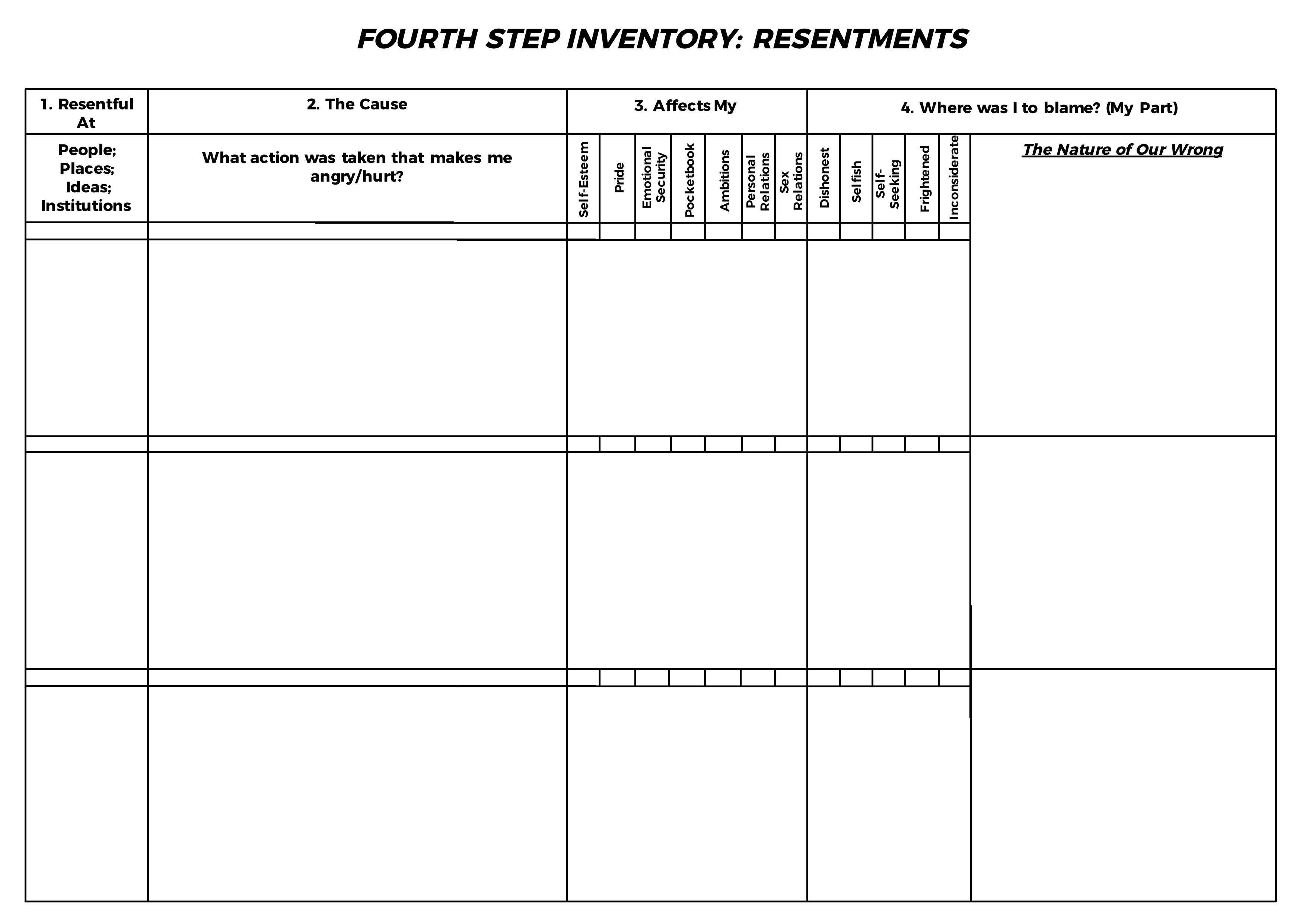 Hazelden 4Th Step Worksheet Reading Worksheets English Worksheets Throughout Hazelden 4Th Step Worksheet