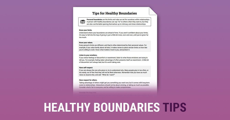 Healthy Boundaries Tips Worksheet  Therapist Aid For Boundaries Worksheet Therapy
