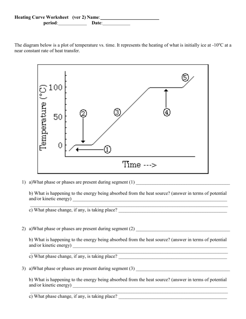 Heating Curve Worksheet Along With Heating Curve Worksheet