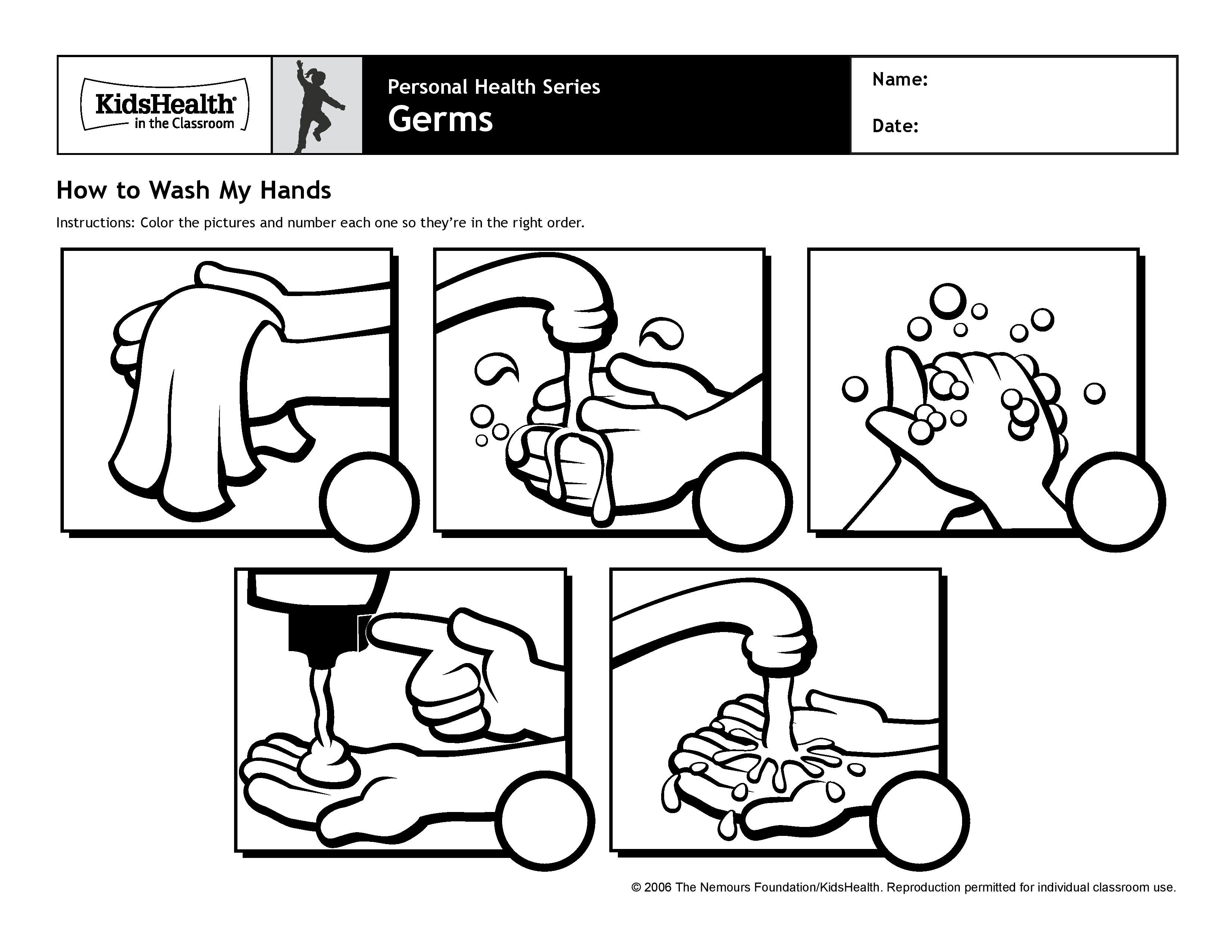 How To Wash My Hands Worksheet For Kids  Personal Hygiene With Regard To Hand Washing Worksheets