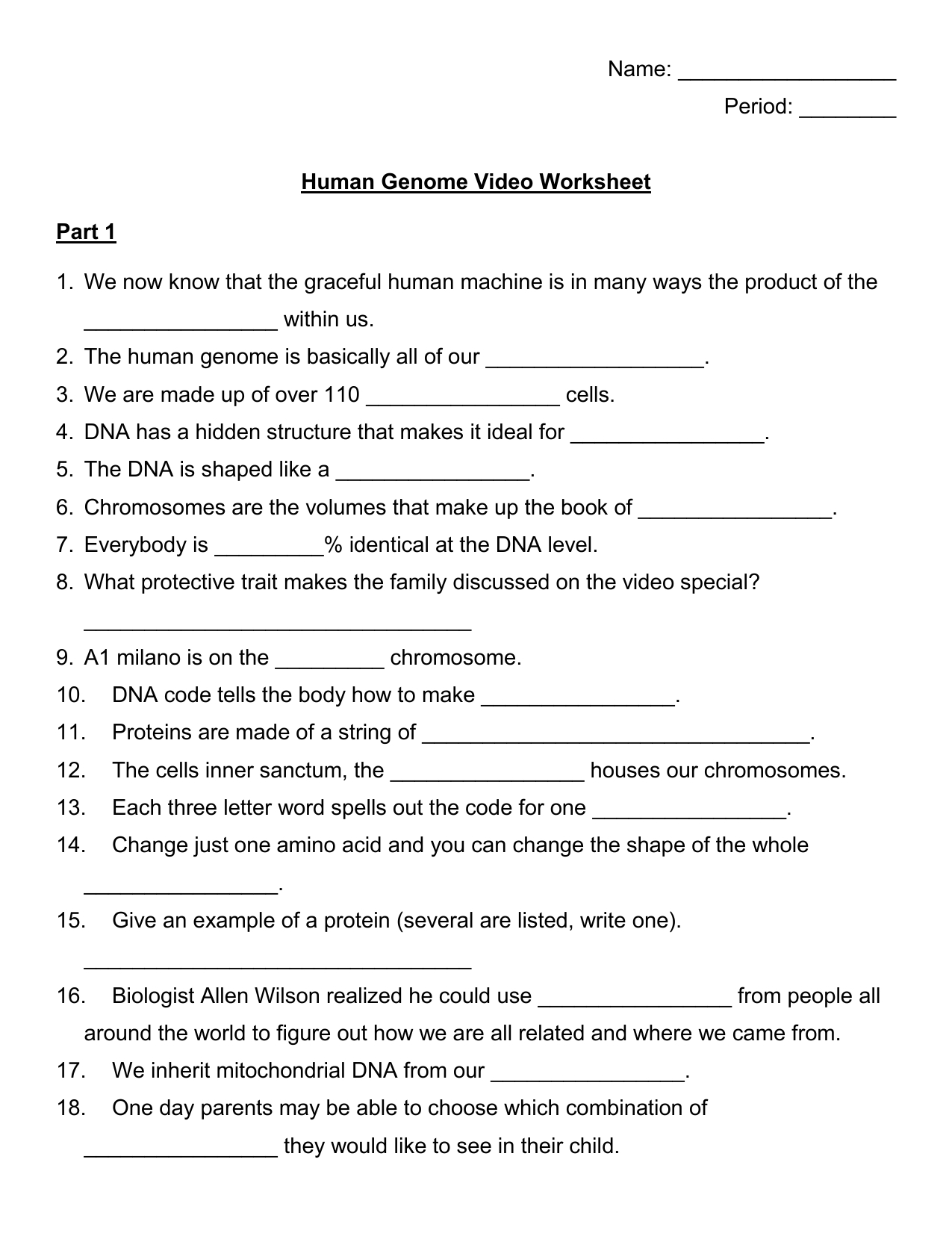 Human Genome Video Guide And Human Genome Video Worksheet Answers
