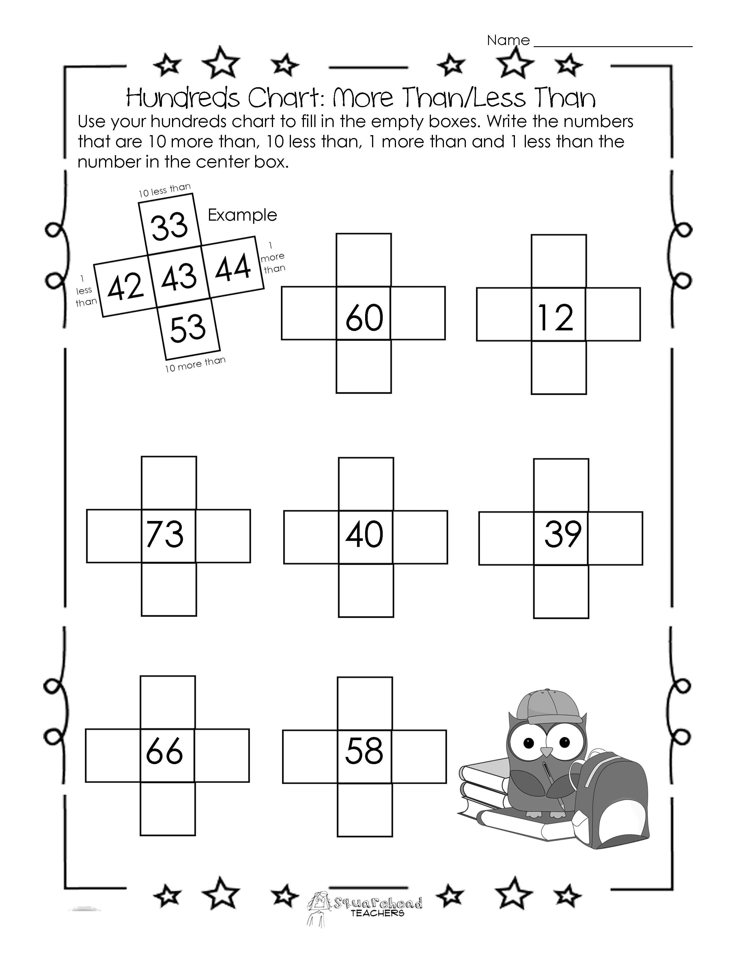 Hundreds Chart Worksheet 10 More Than10 Less Than  Squarehead Also Greater Than Less Than Worksheets For Kindergarten