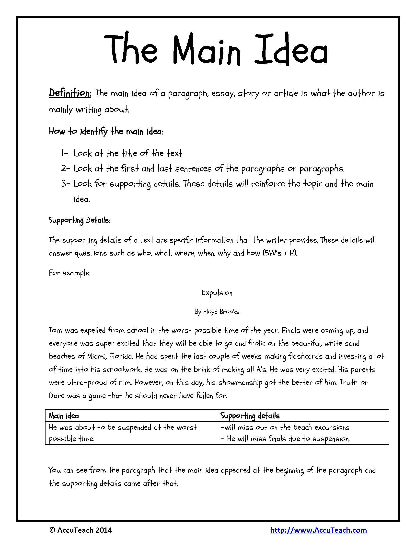 Ideas Of Main Idea Worksheets First Grade Fbb94B312A9B Battk Also For Reading Comprehension Main Idea Worksheets