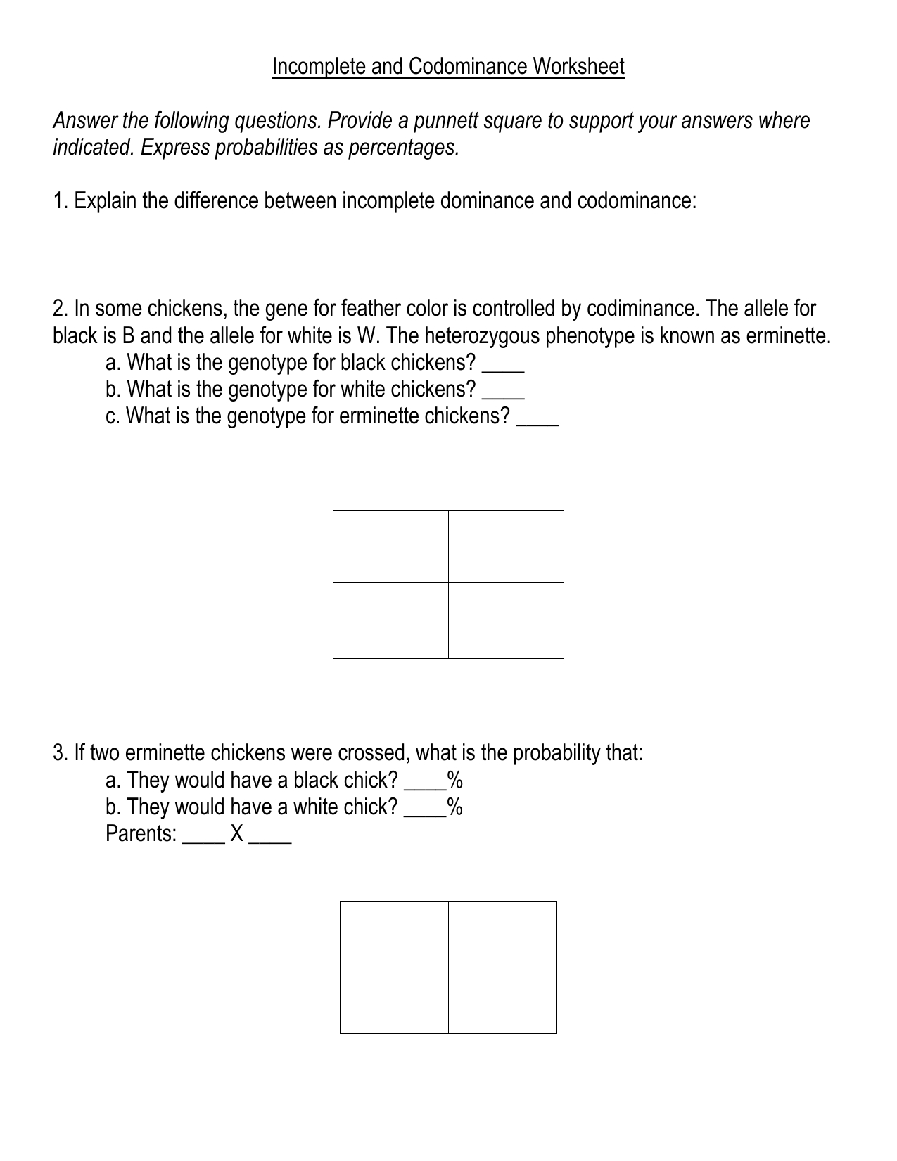Incomplete And Codominance Worksheet Inside Incomplete And Codominance Worksheet