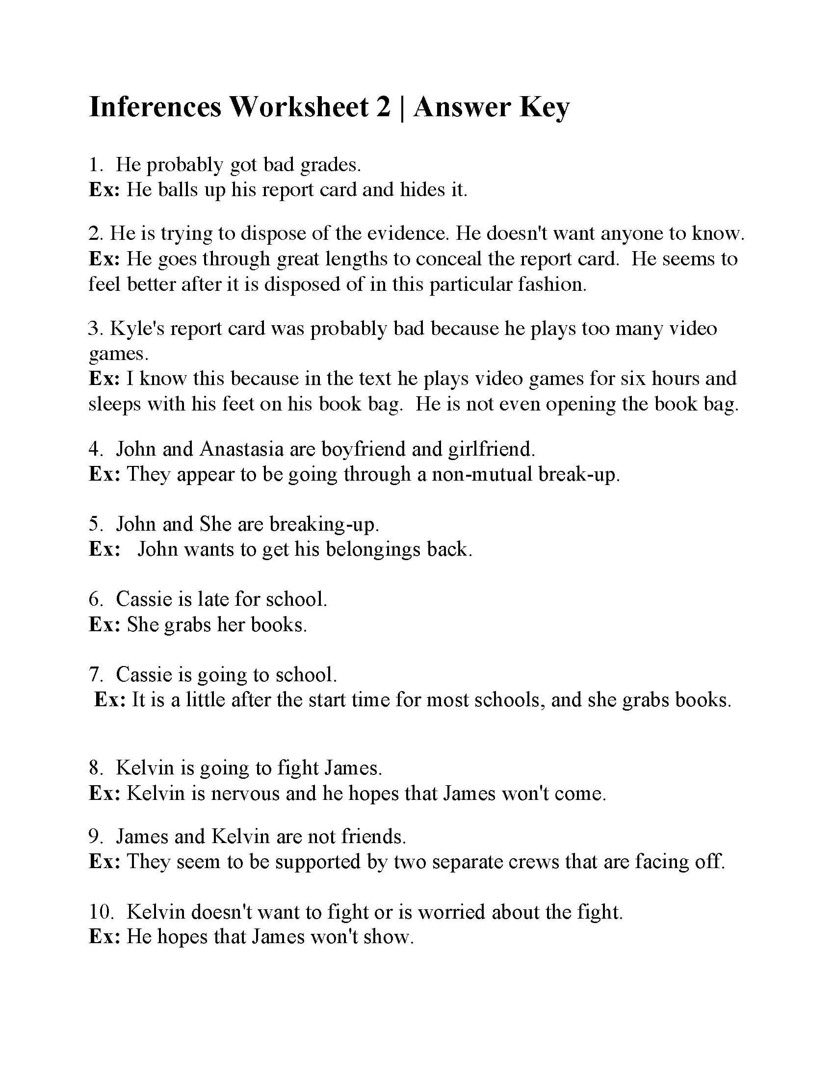 Inferences Worksheet 2  Answers Together With Inferences Worksheet 2 Answers