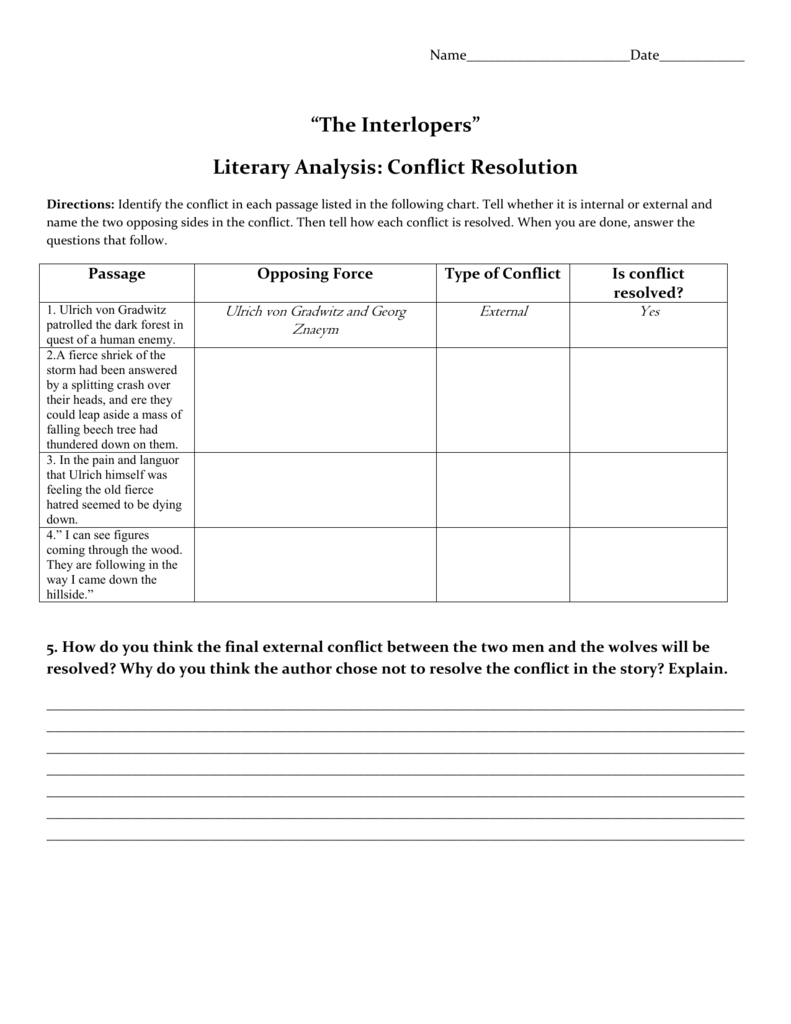 Interlopers Conflict Resolution Chart As Well As The Interlopers Worksheet Answers