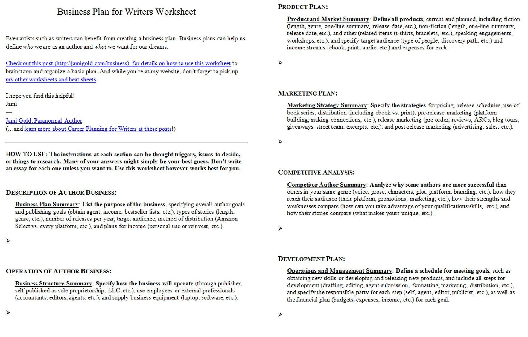 Introducing The Business Plan For Writers Worksheet  Jami Gold With Business Plan Worksheet