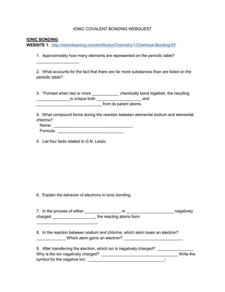 Ionic Covalent Bonding Webquest Or Ionic And Covalent Bonding Worksheet With Answers