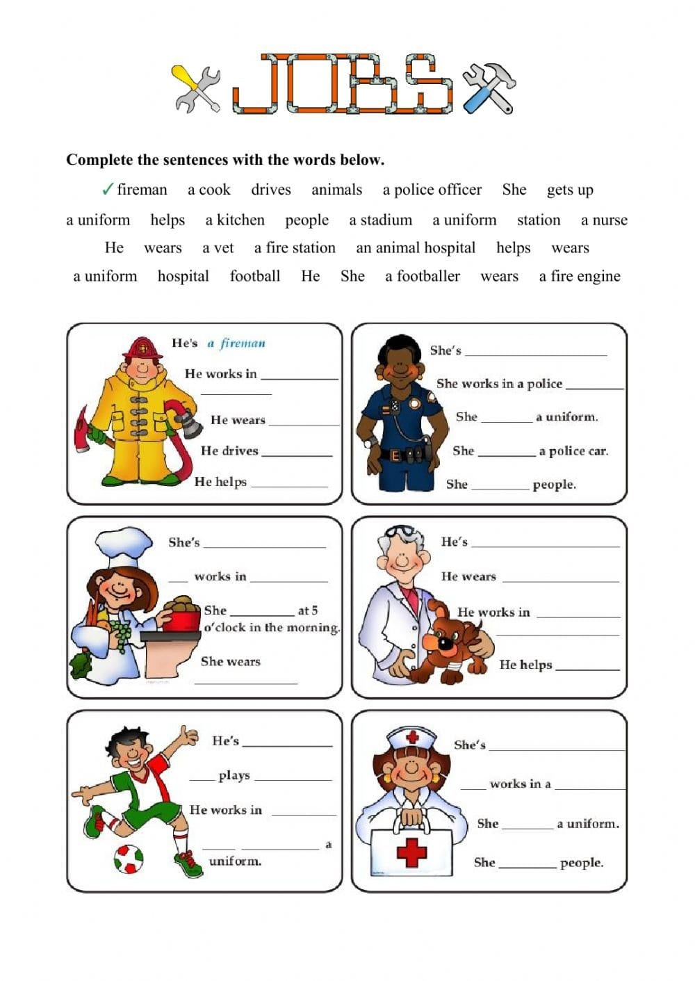 Jobs  Fill In The Gaps  Interactive Worksheet And Job Worksheet Pdf
