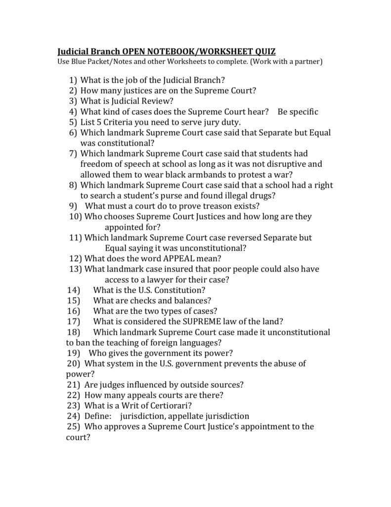 Judicial Branch Open Notebookworksheet Quiz Inside Our Courts The Judicial Branch Worksheet