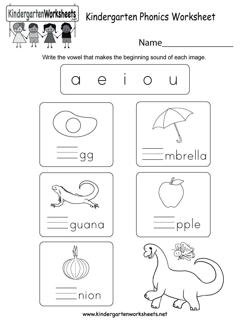 Kindergarten Phonics Worksheet  Free Kindergarten English Worksheet Along With Kindergarten Phonics Worksheets