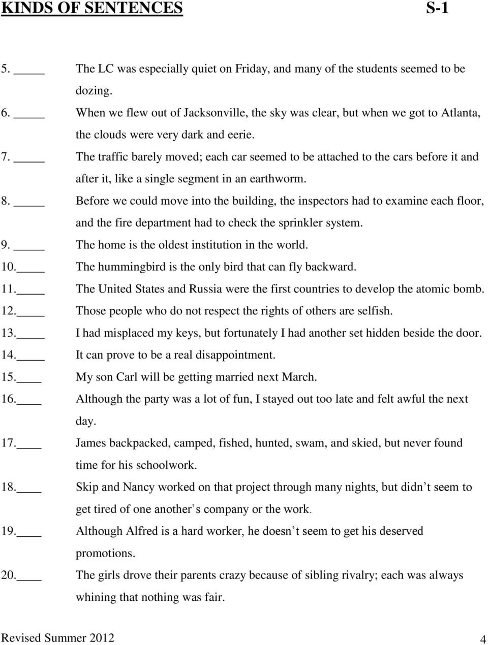 Kinds Of Sentences S1  Pdf Together With Simple Compound And Complex Sentences Worksheet Pdf