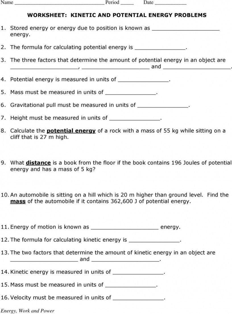Kinetic And Potential Energy Problems Worksheet Answers Pertaining To Worksheet Kinetic And Potential Energy Problems