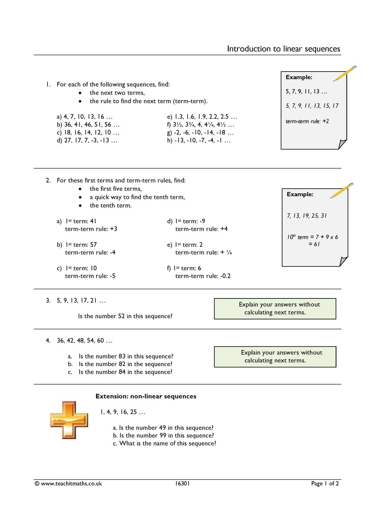 Ks3  Sequences – Term To Term  Teachit Maths In Introduction To Sequences Worksheet
