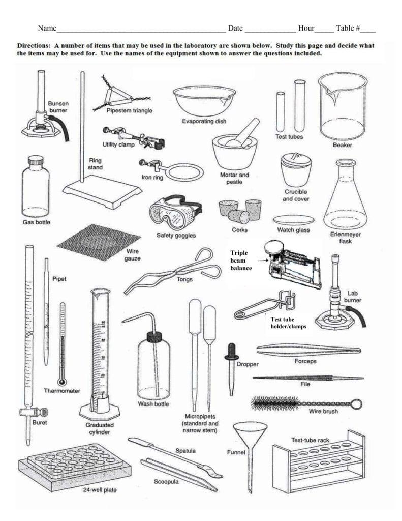 Lab Equipment Worksheet For Laboratory Equipment Worksheet