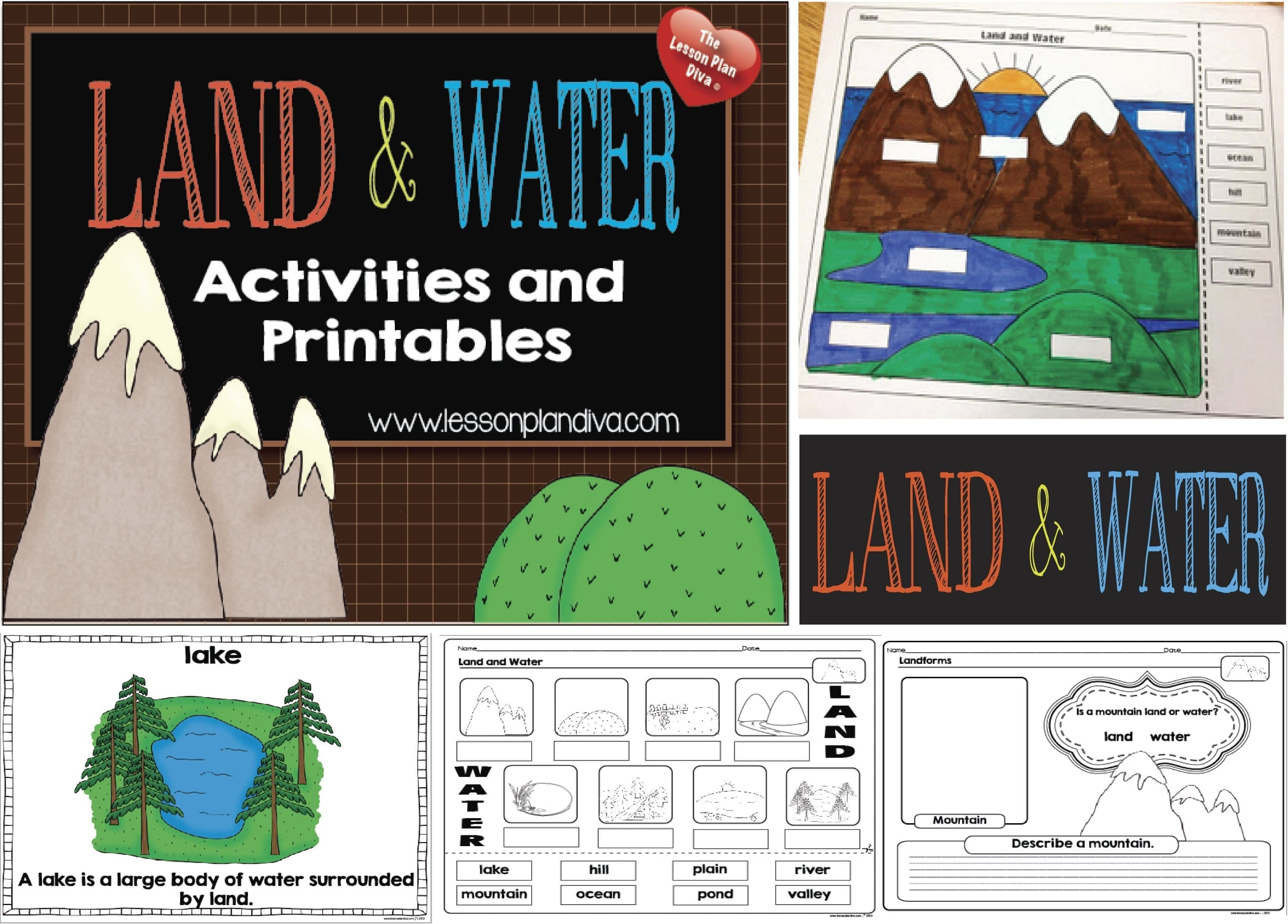 Landforms And Bodies Of Water Freebie  The Lesson Plan Diva Pertaining To Free Printable Landform Worksheets