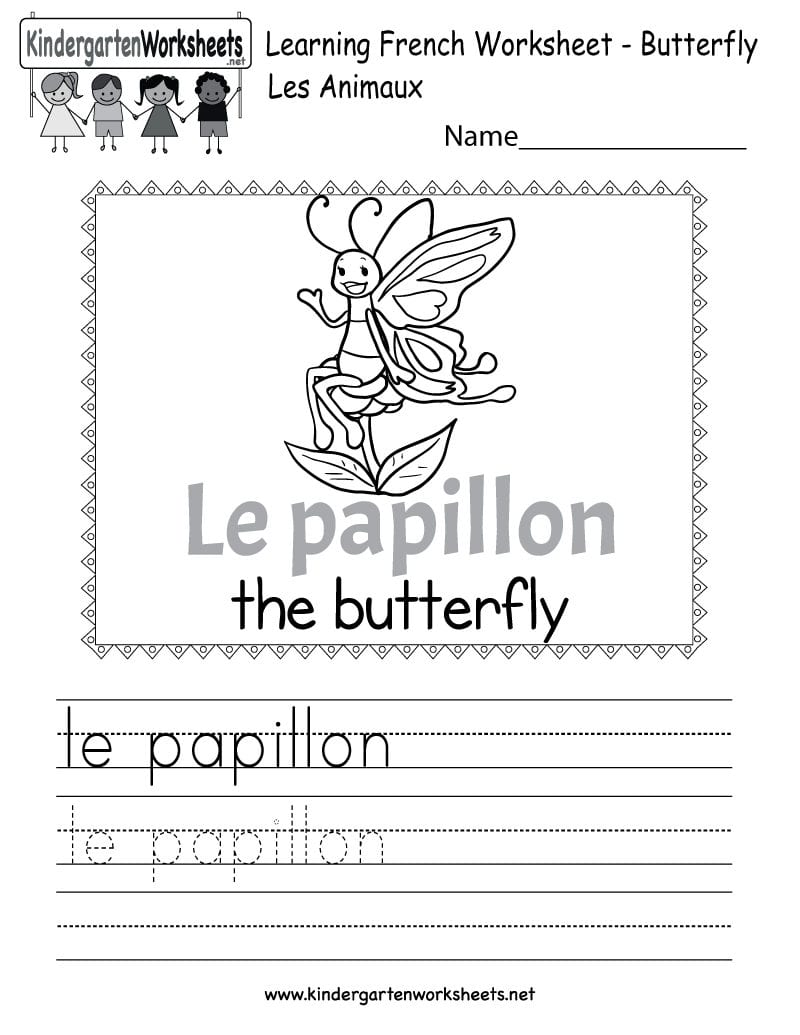Learn The French Language Worksheet  Free Kindergarten Learning Together With French Worksheets For Beginners Pdf