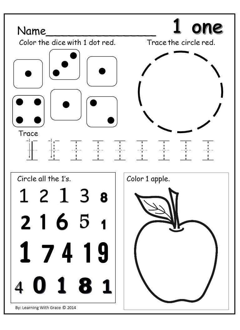 Learning Numbers 1 – 12 Worksheets And Flash Cards  Queen Of The In Number 1 Worksheets For Preschool