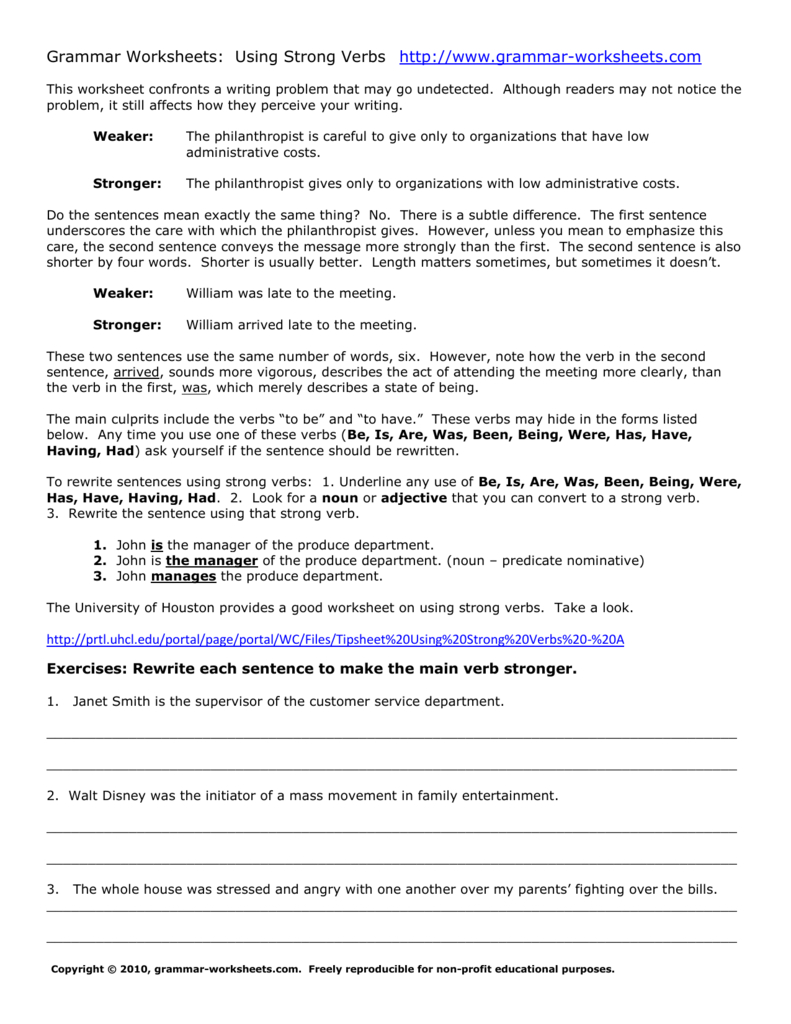 Lessonstrongverbsexercisesanswers Throughout Has Have Had Worksheets With Answer