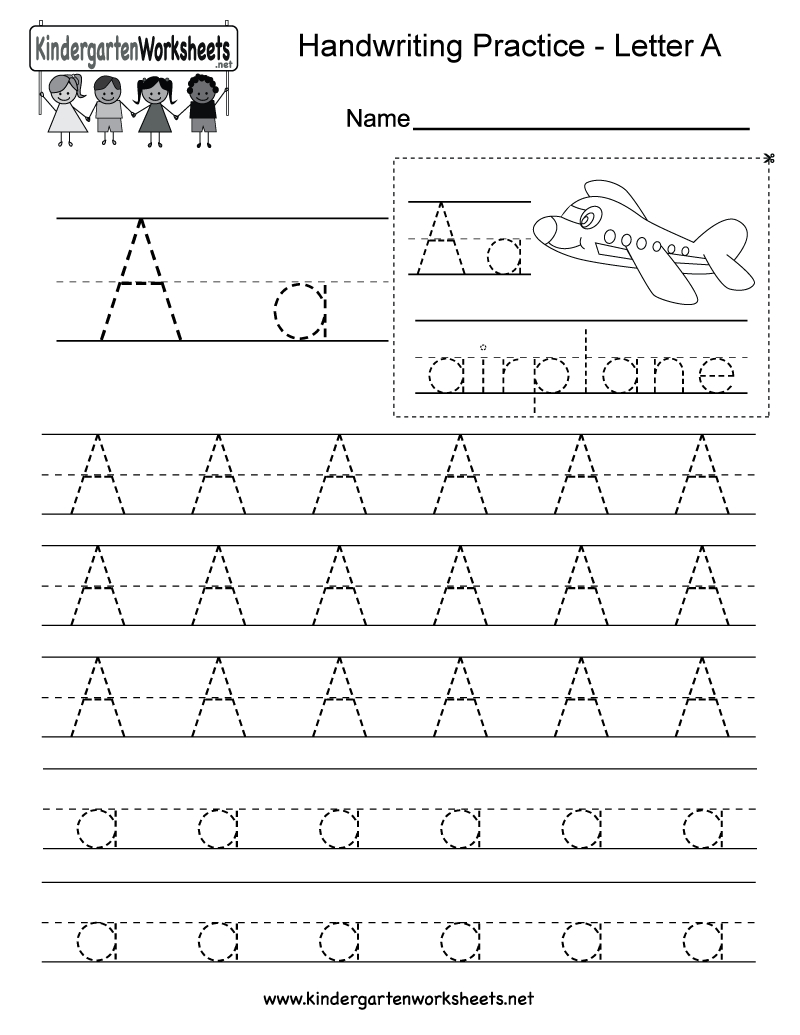 Letter A Writing Practice Worksheet  Free Kindergarten English Or Kindergarten Writing Worksheets Pdf