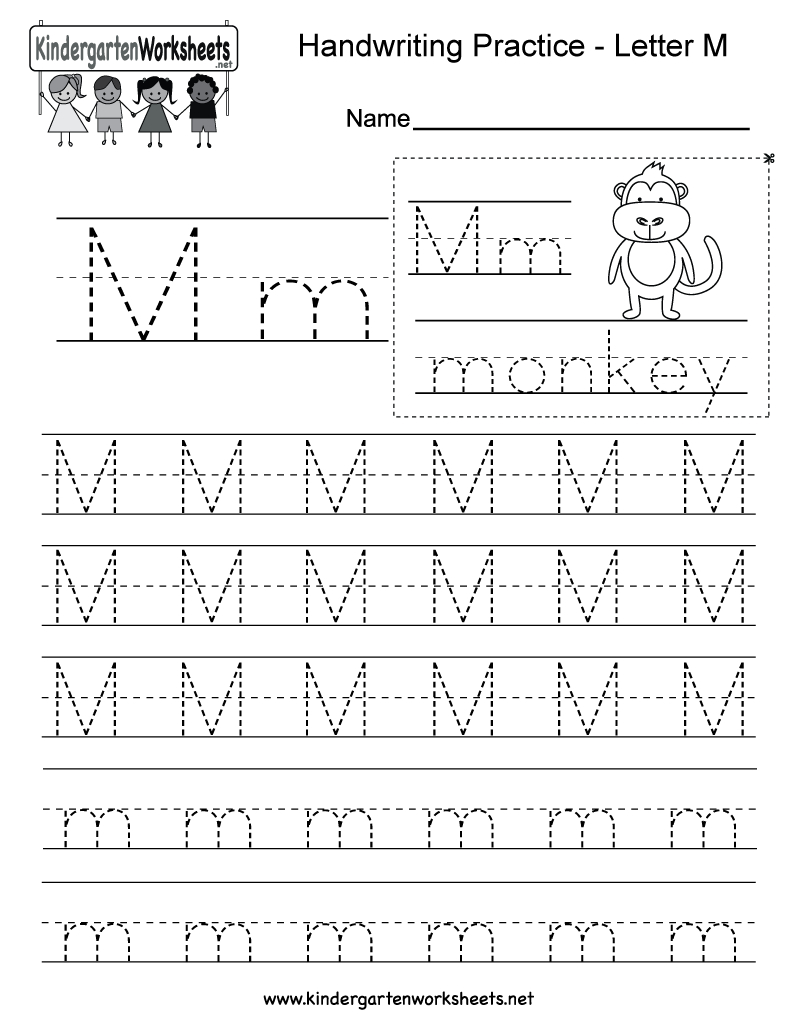 Letter M Writing Practice Worksheet  Free Kindergarten English Or Kindergarten Practice Worksheets
