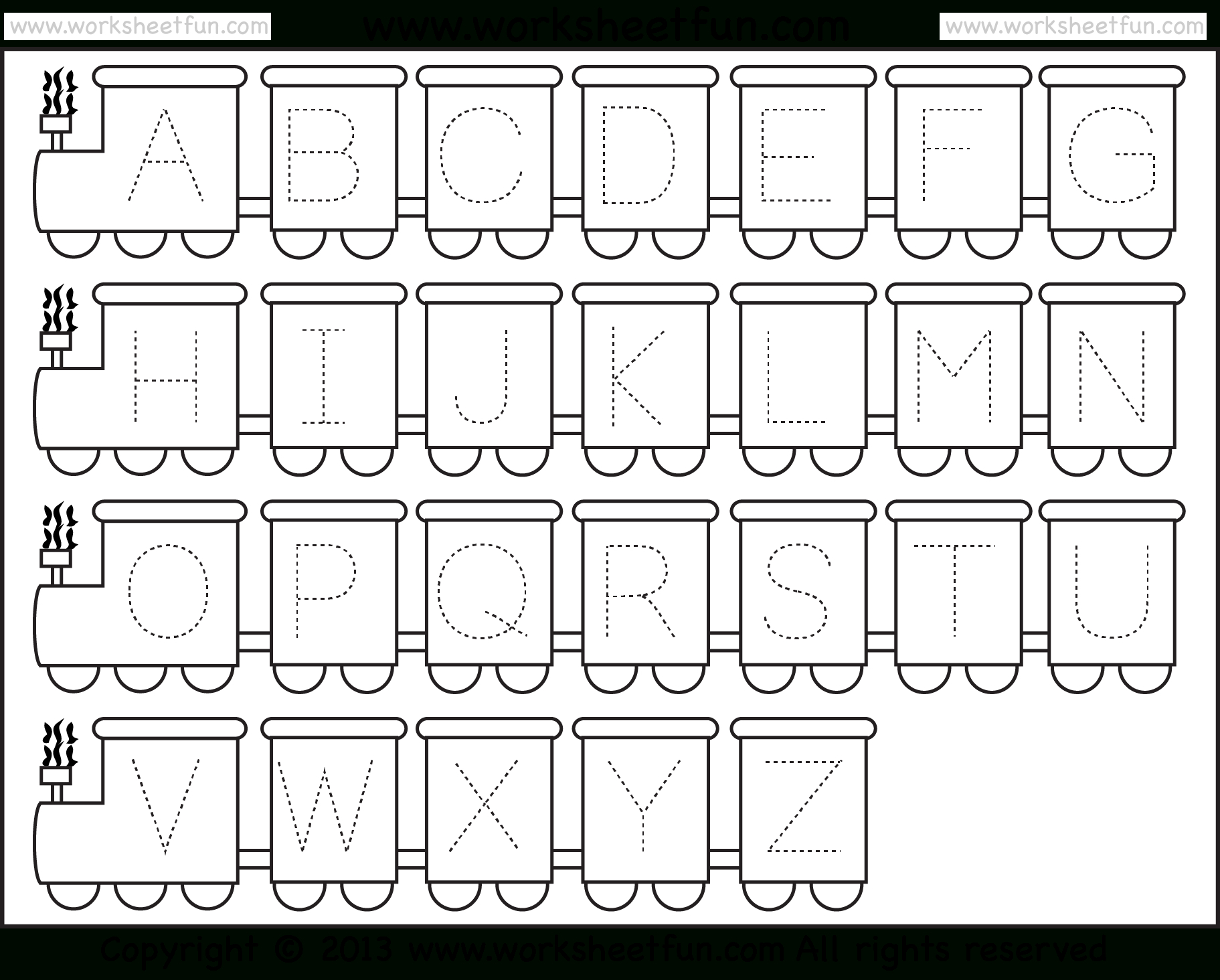 Letter Tracing Worksheet – Train Theme  Free Printable Worksheets With Regard To Free Printable Tracing Alphabet Worksheets