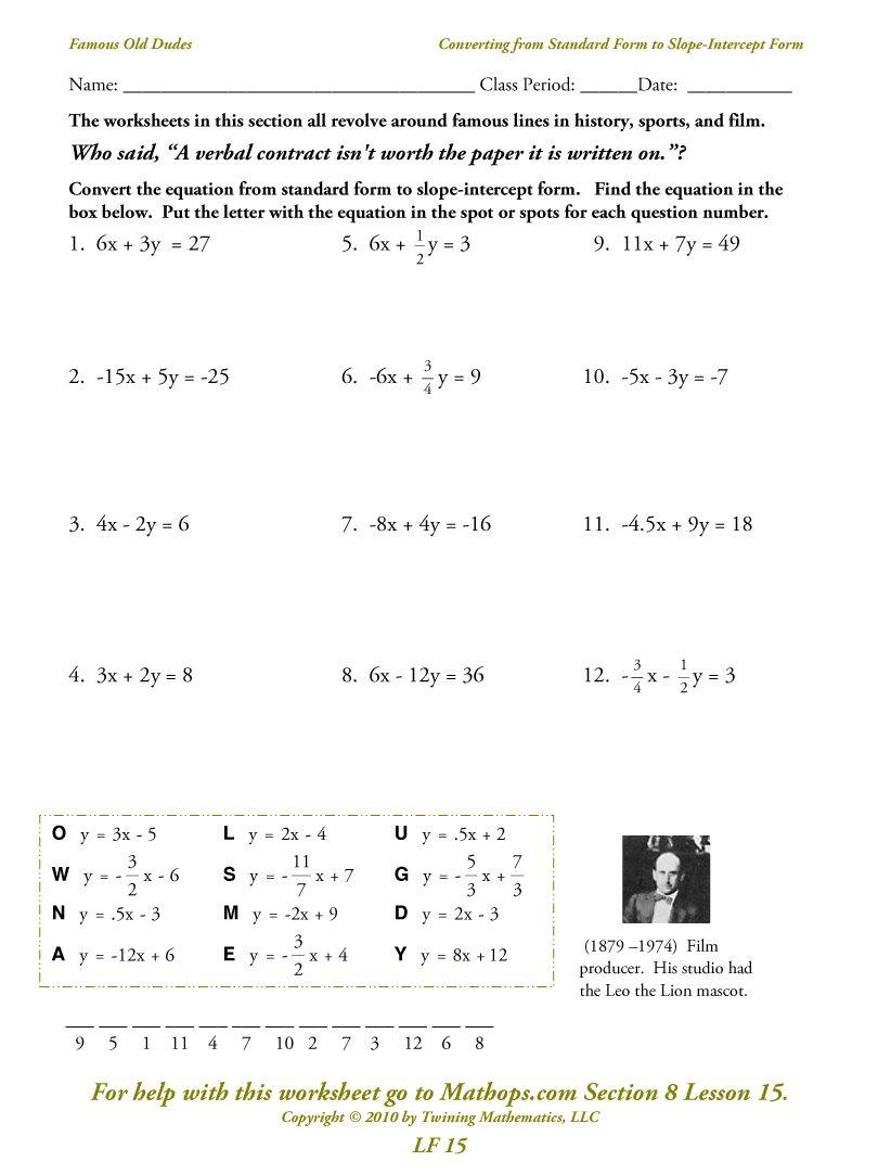 Lf 15 Converting From Standard Form To Slopeintercept Form  Mathops And Standard Form Of A Linear Equation Worksheet