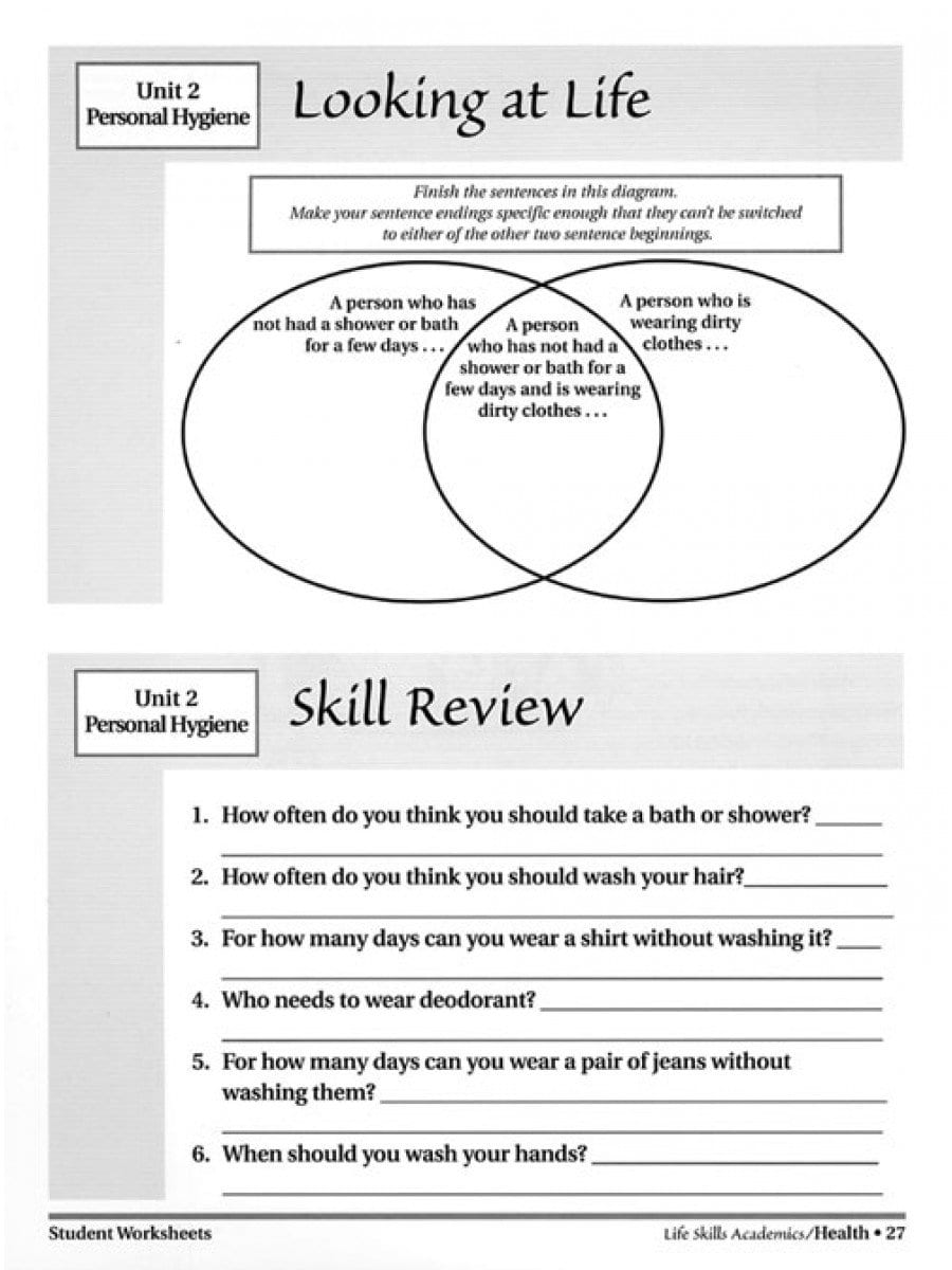 Life Skills Academics Health Throughout Life Skills Worksheets For Adults Pdf