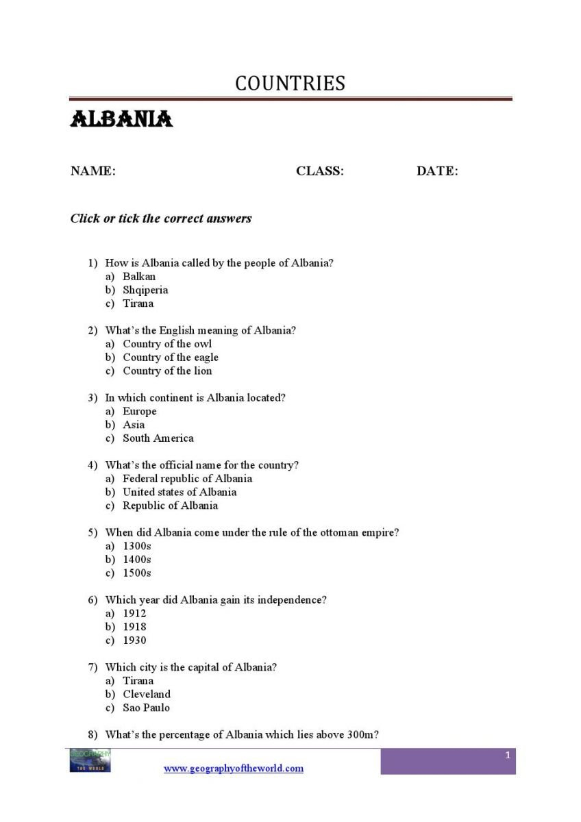 List Of Countries In The World Printable Worksheets Pdf  Geography Regarding United States Regions Worksheets Pdf