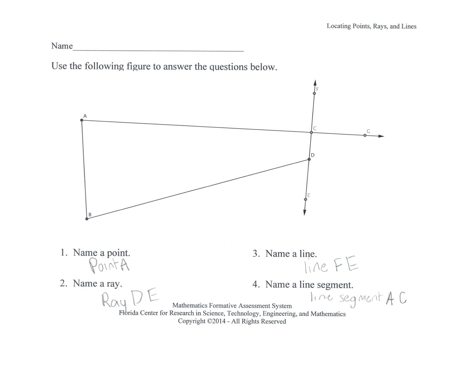 Locating Points Lines And Rays Students Locate Points Lines Line Along With Lines Line Segments And Rays Worksheets