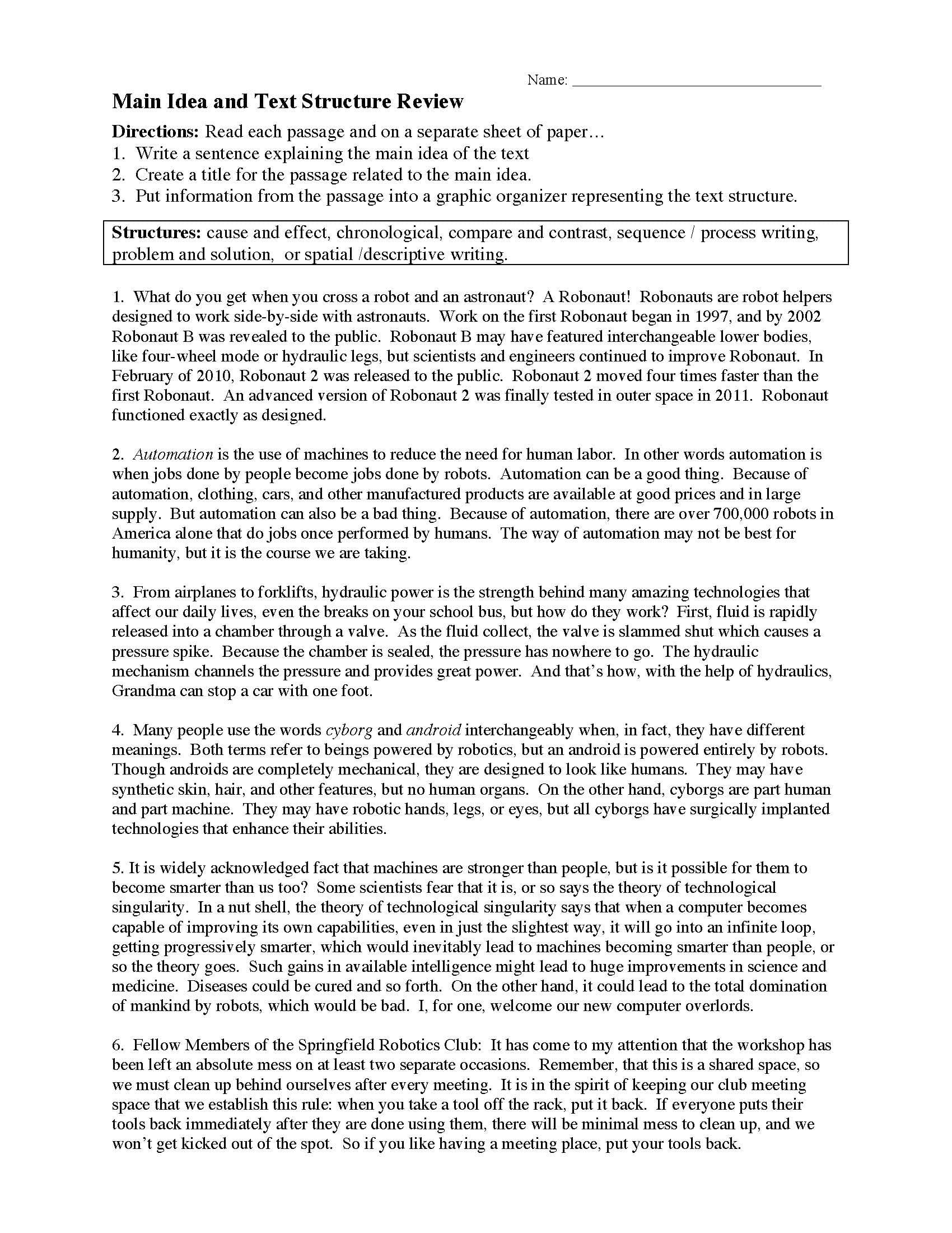 Main Idea And Text Structure Worksheet 2  Preview In Nonfiction Text Structures Worksheet