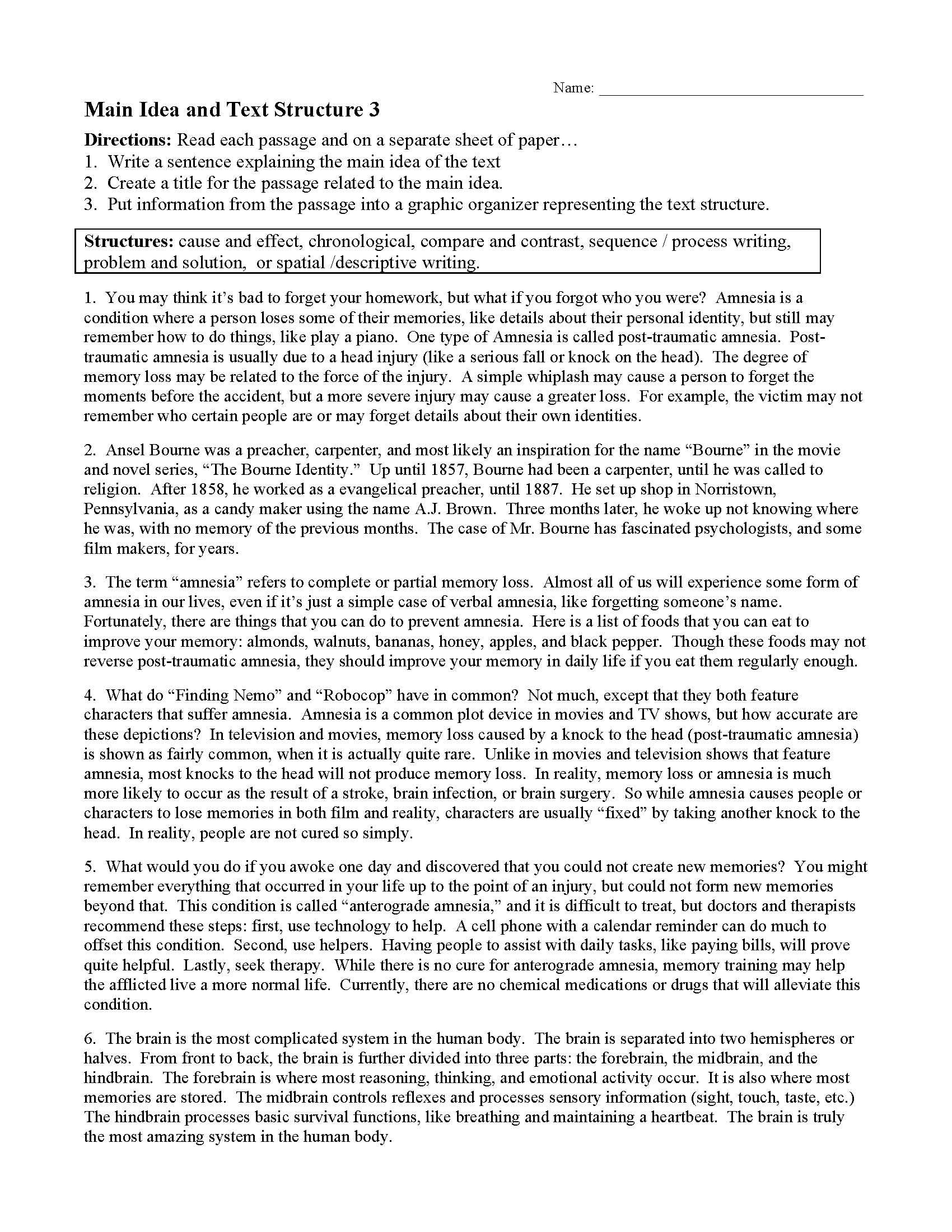 Main Idea And Text Structure Worksheet 3  Preview Also Nonfiction Text Structures Worksheet