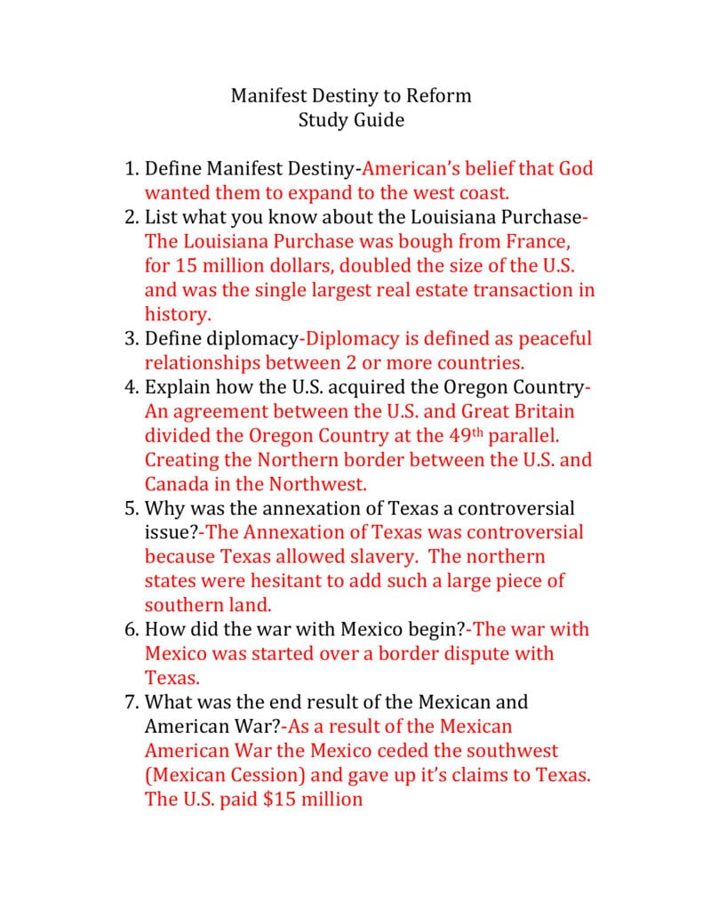 Manifest Destiny To Reform Study Guide Answers Inside Manifest Destiny Worksheet Answers