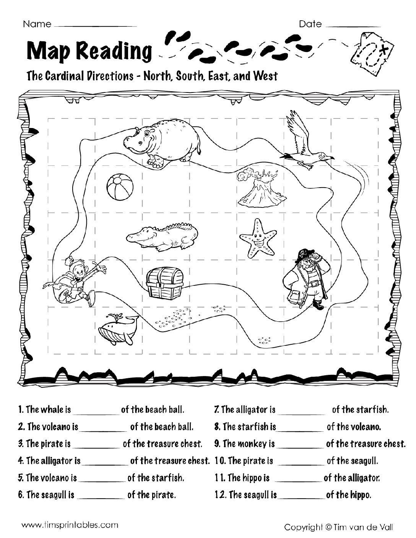 Map Reading Worksheets  Tim's Printables For Reading A Map Worksheet Pdf