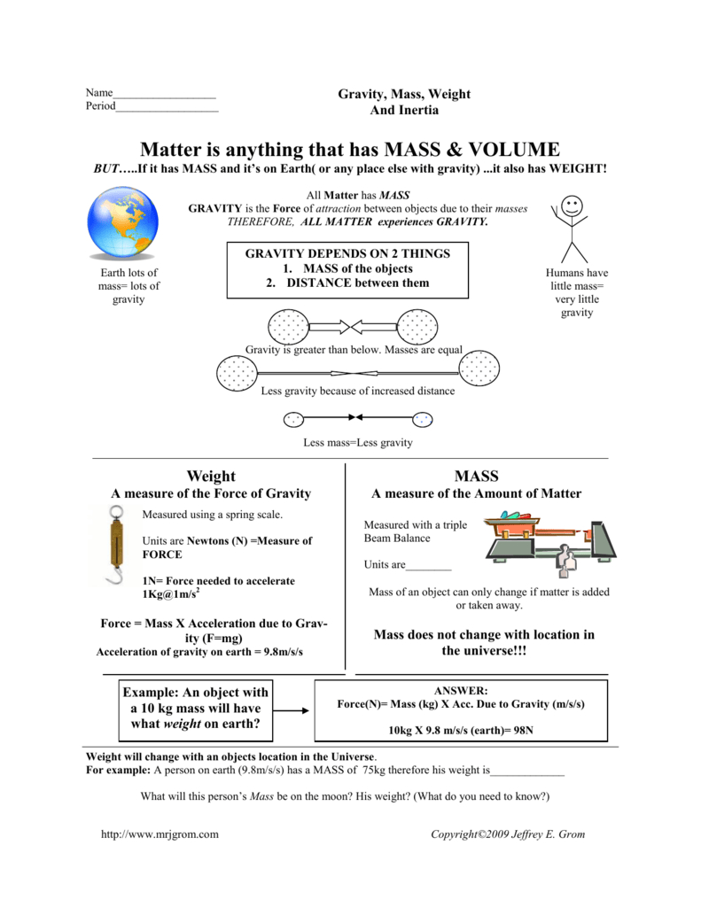 Mass And Weight Worksheet  Copyright©2009 Jeffrey E Grom Throughout Mass And Weight Worksheet Answers