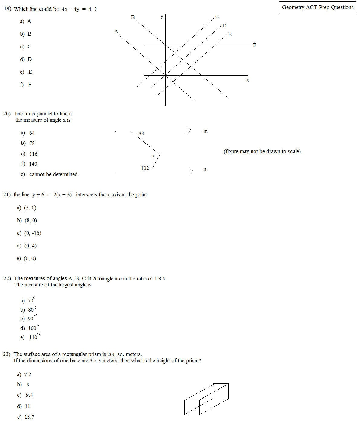 Math Plane  Act Geometry Practice Questions Intended For Act Math Practice Worksheets