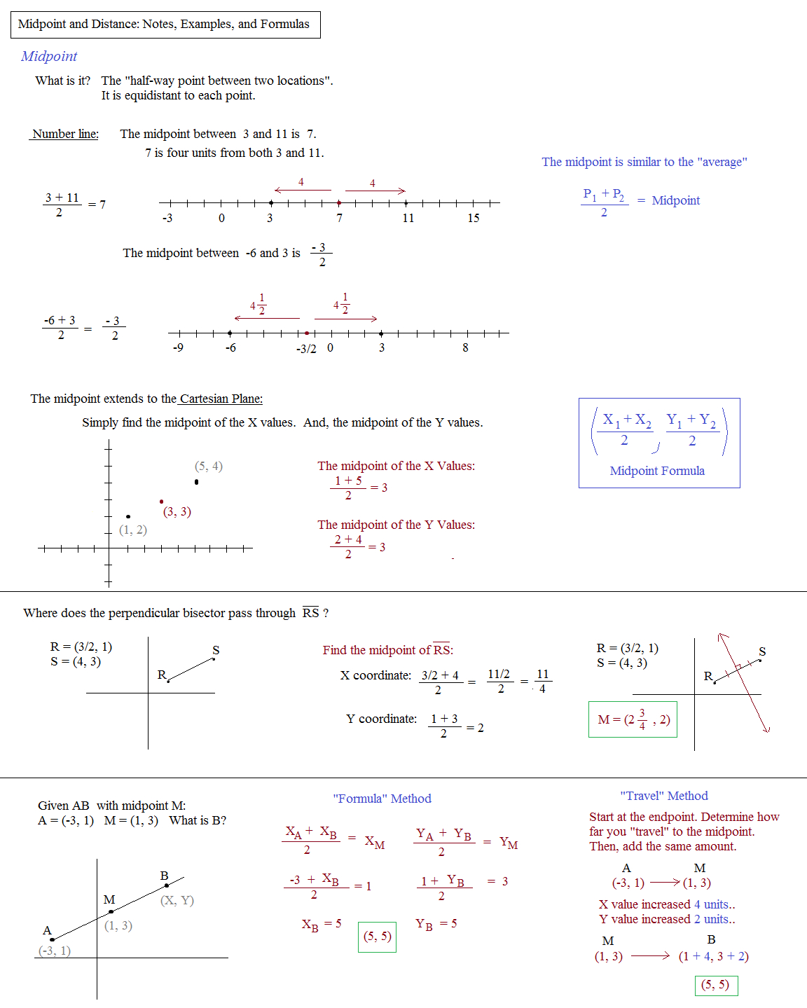 Math Plane  Midpoint And Distance In Distance And Midpoint Worksheet Answers
