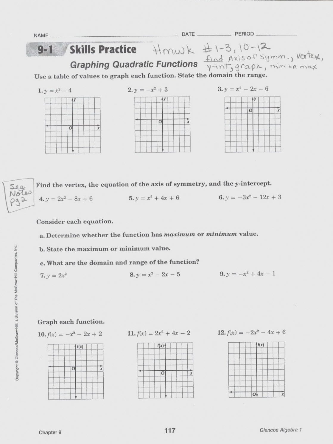Math Worksheets Graphing Quadratic Equations 11 – Myscres  – Form Regarding Practice Worksheet Graphing Quadratic Functions In Standard Form