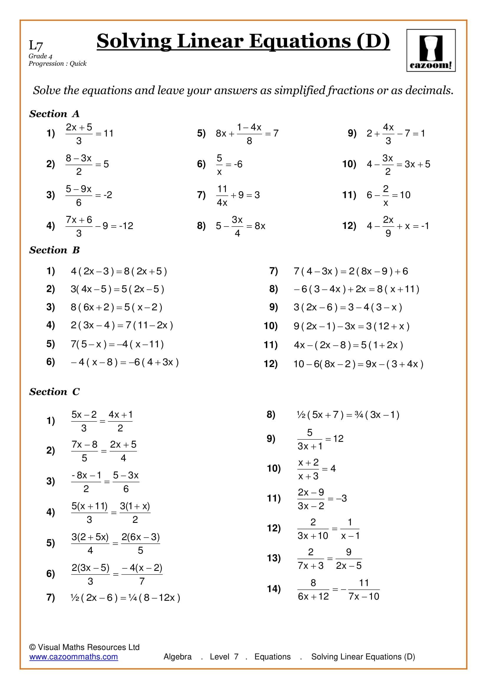 Maths Worksheets  Ks3  Ks4 Printable Pdf Worksheets For Linear Equations Worksheet With Answers