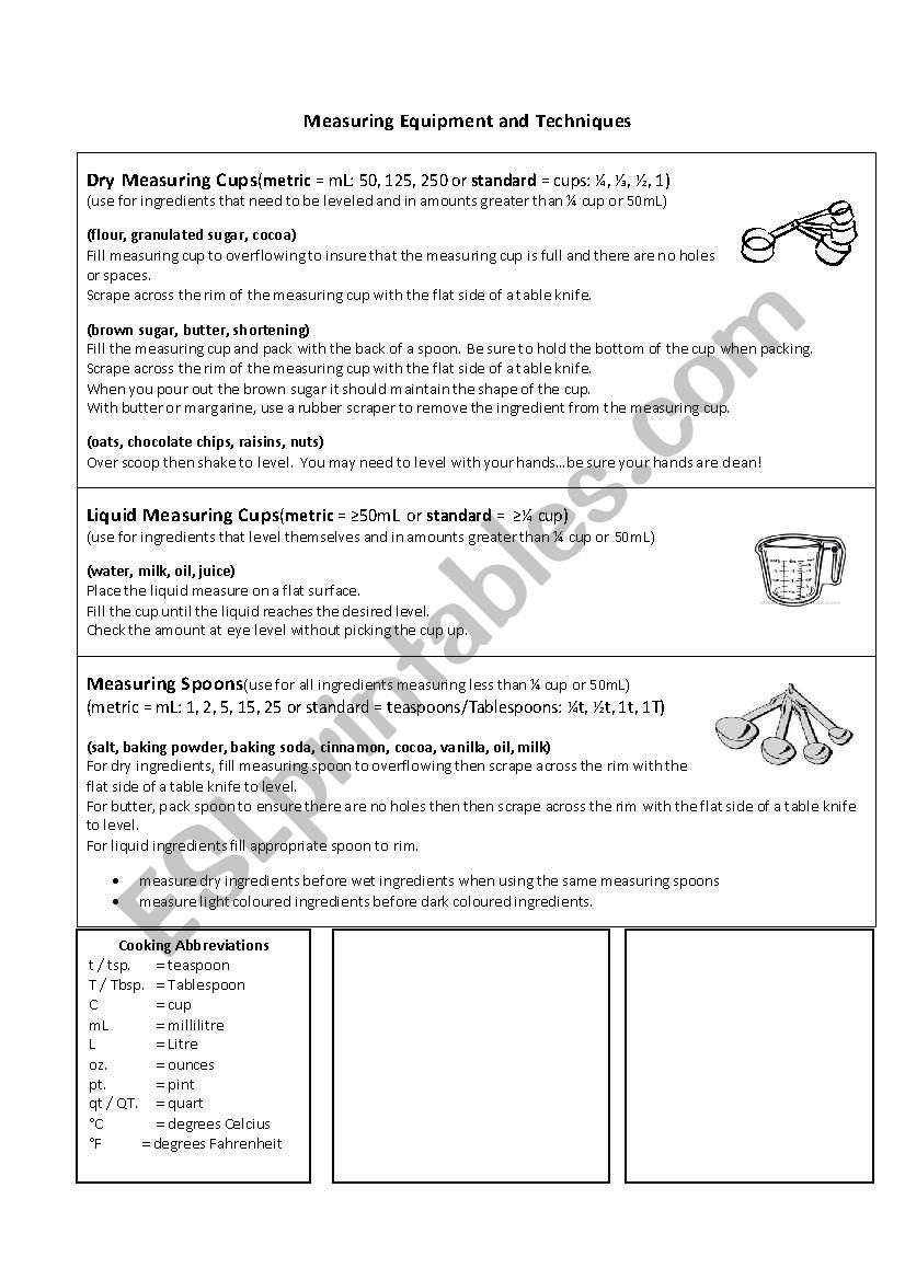 Measuring In The Kitchen  Esl Worksheetmsbluey With Kitchen Equivalents Worksheet