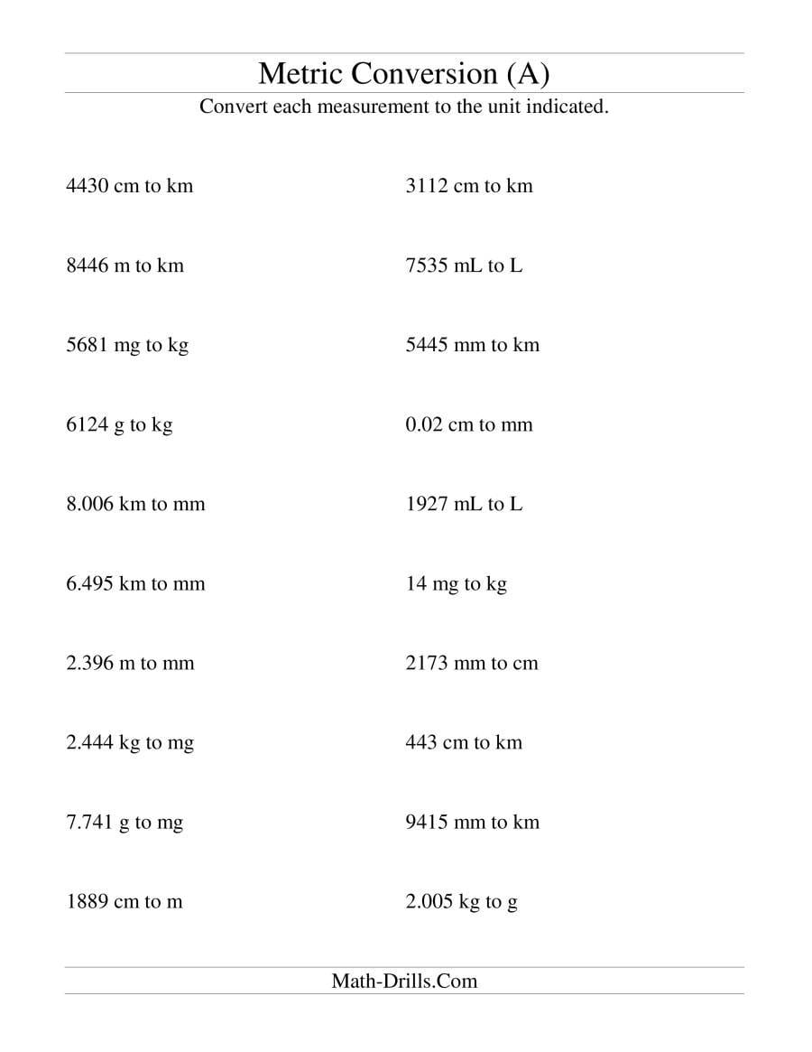 Metric Conversion All Length Mass And Volume Units Mixed A For Converting Units Of Measurement Worksheets